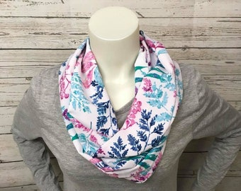 Pink and Blue Lightweight Infinity Scarf, Lightweight Loop Scarf, Spring Loop Scarf, Spring Accessory, Pink and Blue Accessory