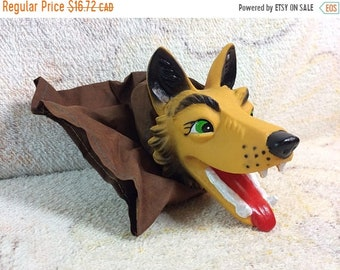 SUMMER SALE Big Bad Wolf Hand Puppet Rubber Face Retro Puppet Collectible 70s Pretend Play Puppet Show