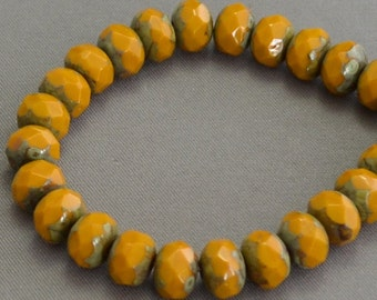 Czech Glass Opaque Mustard Picasso faceted Rondelles 6x8mm (25)