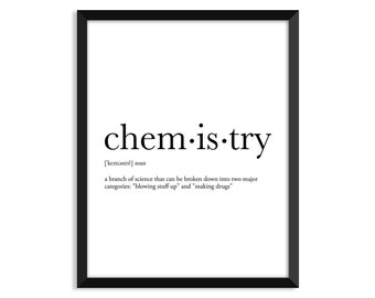 Chemistry definition, dictionary art print, office decor, minimalist poster, funny definition print, definition poster, quotes, christmas