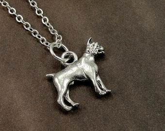 Boxer Necklace, Silver Boxer Dog Charm on a Silver Cable Chain