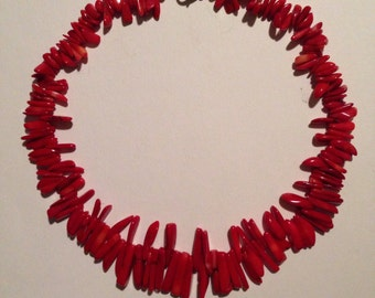 GLAMOROUS!  Red Coral Necklace, Vintage 1980's -- SO Gorgeous!