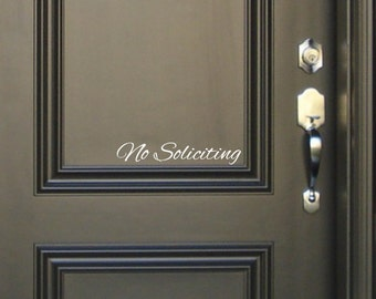 No Soliciting Sign Vinyl Decal Sticker - Script