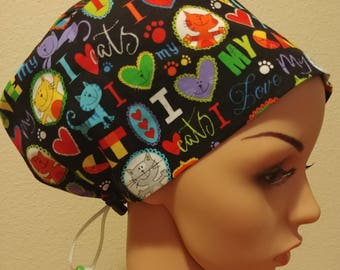 Women's Surgical Cap, Scrub Hat, Chemo Cap, I LOVE MY CAT