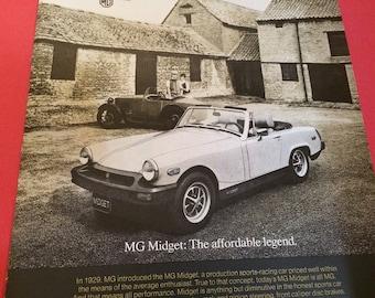 "1975 MG Midget Vintage magazine ad. ""The Affordable Legend"" wall decor man cave art 1709"