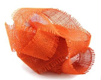 "SALE: 2.5"" x 10 yards Orange Burlap Jute Ribbon for Fall Christmas Decorations"