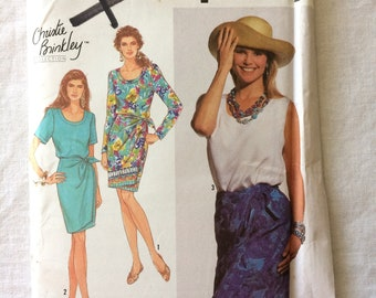 Vintage 1991 UNCUT Simplicity 7222 Misses Size 12, 14, 16, and 18 Top and Double Wrap Sarong Skirt Pattern