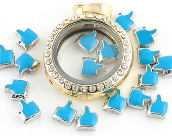 Thumb floating Charms for Living Lockets, Glass Memory Lockets