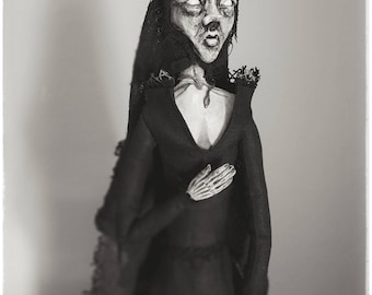 Artdoll -- Witch - puppet, odd, black, art, horror, wicca, old hag, witch