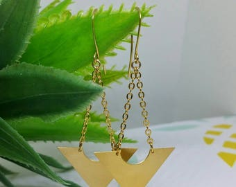 Triangles dangle earrings, Gold triangles earrings, Gold chain earrings, Geometric gold earrings, Boho triangles earrings, arrows earrings