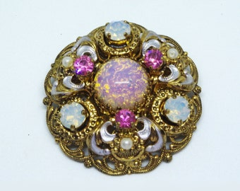 1950's VINTAGE Signed Germany Glass Fire Opal and Rhinestone Gold Filigree Victorian Style Brooch