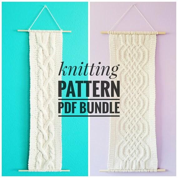 Cable Knitting Pattern Bundle Knit Wall Hanging Pdf Patterns
