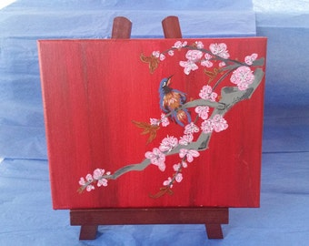 Singing Bird in Cherry Blossom Tree Painting