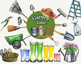 Garden clipart, spring clipart, garden tools, watercolor garden tools, Hand Painted, clip art, digital watercolor