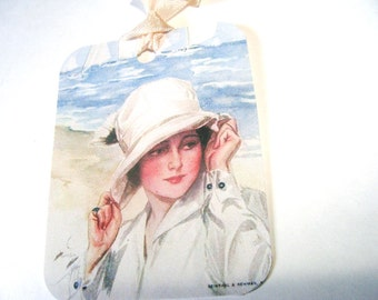 1920's Beach Tags - Set Of 6 - Beautiful Lady - Beach Scene - Artistic Beach Tags - Waves and Sand - Vintage Beach - Thank Yous - Gift Tags