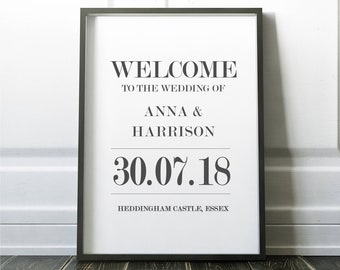 Portrait Anna Wedding welcome poster/sign A3/A2/A1 -UNFRAMED - FREE POSTAGE
