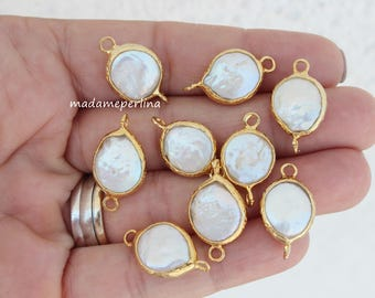 pearl connector 22k gold plated brass baroque coin pearls link freshwater bezels turkish jewelry supplies findings p13