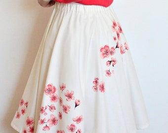 Cherry blossom skirt, Sakura circle skirt, Hand painted skirt, Wearable art, Pink red flowers, Petticoat skirt, 5th anniversary gift for her
