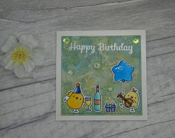 Cute little Handmade Chick Happy Birthday Card, Mama Elephant Party Animals, Bird Card, Whimsical Birthday Card, Wine Bottle Card