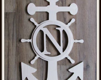 """Nautical Door Hanger with Monogram Letter - Unpainted Wood - 22"""" size - Anchor and Ships Wheel - Wooden Letter - Wall Hanging - Home Decor"""