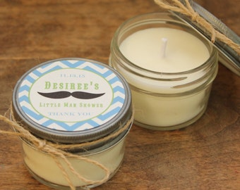 Set of 12 - 4 oz Baby Shower Favor Candles - Mustache Tag Design - Boy Baby Shower Favors // Boy Baby Sprinkle // Soy Candle Favors