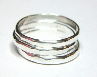 Sterling Stackable Ring 3 Set Hammered