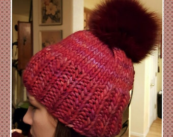 Handmade knitted hat with arctic fox fur pompom