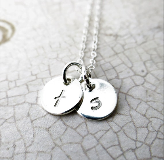 Tiny Initial Necklace - Small Discs - Custom Necklace - Mommy Necklace - Gift for Mom - Gift for Grandma - Dainty Initial Necklace