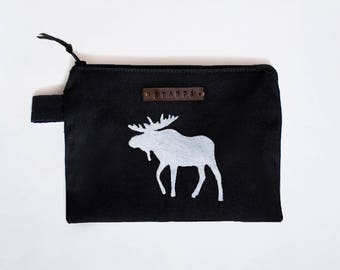 Black Moose Zipper Jewelry Pouch, Pencil Case, Cosmetic bag with handmade print