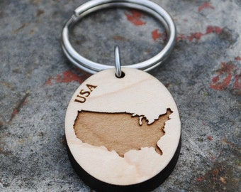 USA Wooden Map KEYCHAIN United States of America