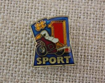 Number One Sport - #1 Sport - Motorcycle Racing - Enamel Pin by American Gag Bag Inc. - Vintage Novelty Pin c. 1980s