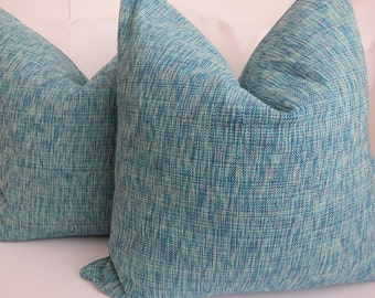 Pair  Pillow Covers, Aqua Blue Pillow Cover, Set Of Two Pillow Covers, Accent Pillow, Pillow Cover, Turquoise Pillow Cover- Pair Pillows