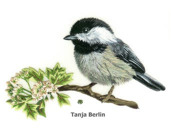 Hand Embroidery Kit - Chickadee on Blossom Branch Needle Painting Embroidery - Embroidery Art Picture