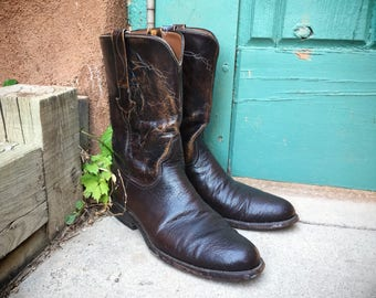 Vintage Lucchese cowboy boot Men's Size 8.5 D black cherry brown leather boot, Mens Luccheses round-toed Western boots, Lucchese roper boots