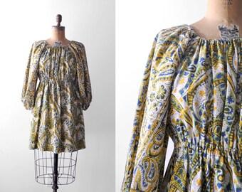 90's peasant top. batik. 1990 boho blouse. blue green yellow ivory. small. 90 m top. india cotton.