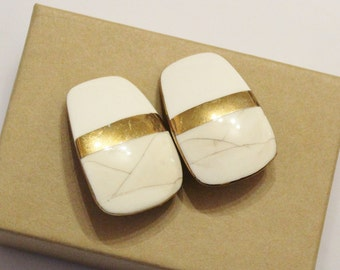 Large White and Gold Ceramic Earrings, Clip On 1980's Earrings  Made in USA