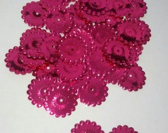 20 appliques embellishment sequin glitter flowers pink 20 mm