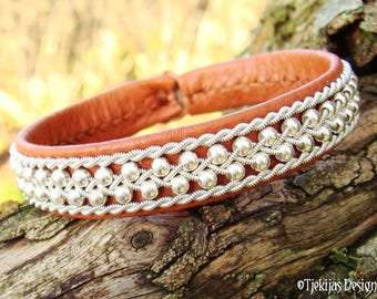 Swedish Sami Bracelet, Viking Bracelet Cuff ROSKVA in bark tanned reindeer leather, sterling silver beads and pewter braid