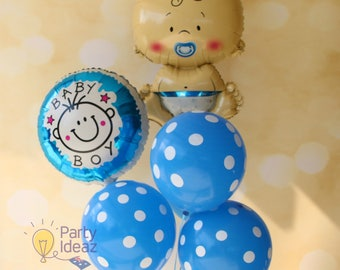 Its A Boy Baby Balloons Bouquet - Blue Baby Shower Decorations / New Arrival / Boy Christening / First Birthday Party
