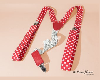 Red Polka dots. Adjustable. Tweezers. Leather details. Moschino style, wedding, Andalusian, Spanish, Gypsy, Sevillian, April fair