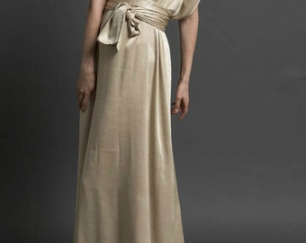 Formal gold dress from Italian satin with a silky look. Made to order
