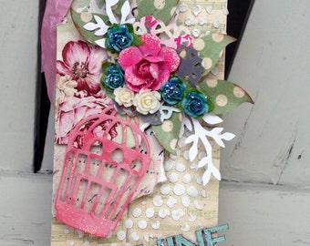 Tag Ornament Handmade Mixed Media Shabby Chic Art Tag