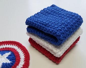 Crochet / White-Blue-Red Dish Cloths