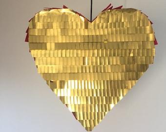Wedding Pinata Party Decor Gold & Red Heart