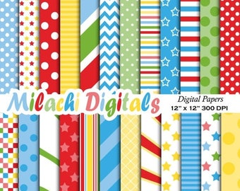 60% OFF SALE Circus digital paper, circus party background, wallpaper, carnival scrapbook paper, polka dots, stripes, chevron - M374