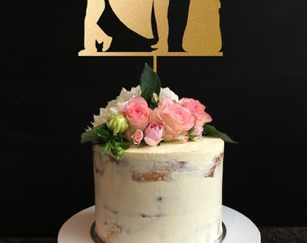 wedding cake topper silhouette,Couple Cake Topper with Dog ,Custom Cake Topper, Bride And Groom Cake Topper, Mr And Mrs Cake Topper