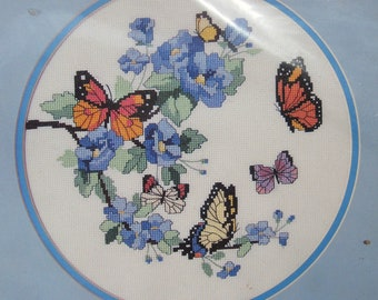 Dimensions No Count Cross Stitch Kit, BLOSSOMS AND BUTTERFLIES, New in Bag, 1987
