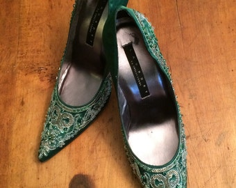 Vintage Green Satin Beaded Laundry By Shelli Segal Pumps