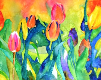 Welcome Spring (1) - Floral watercolour on board, no glass