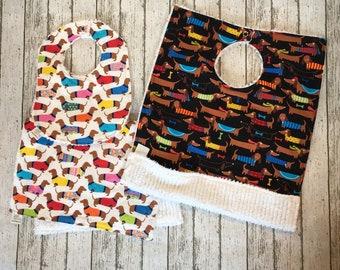 Dachshund Baby Gift Set - Wiener Dog Baby Gift - Dog Baby Bib, Burp Cloth and Toddler Bib Set - 3 pieces Dog Baby Gift - Best Selling Items